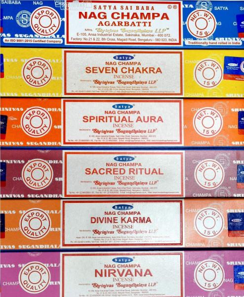 Satya Räucherstäbchen Set #3: 6x15g handgerollt in Indien